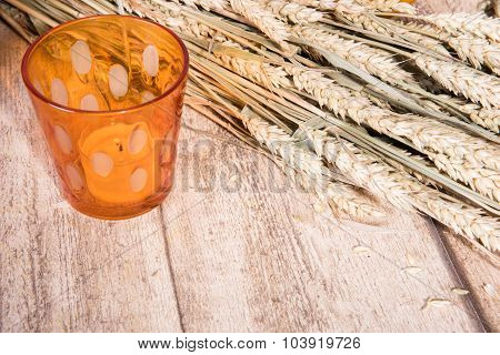 Autumn Decoration - Grain On Wood