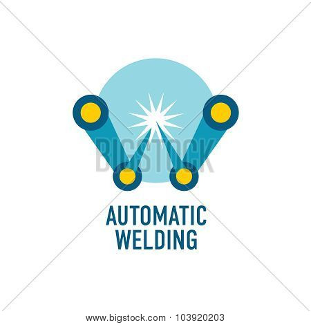 Automatic Welding Logo Template. Letter W.