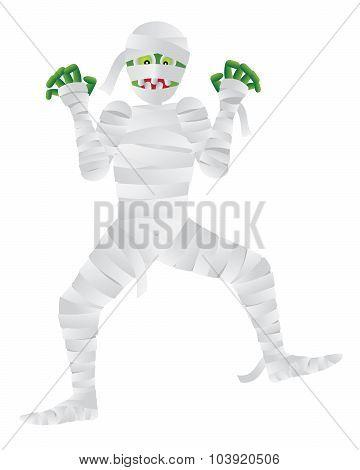 Halloween Mummy With Green Fingers Vector Illustration