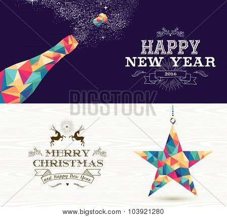 Happy New Year 2015 Merry Christmas Bottle Star