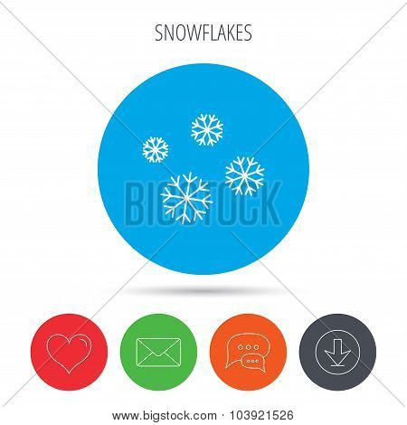 Snowflakes icon. Snow sign. Air conditioning.