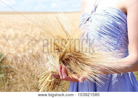 Woman holding sheaf in field