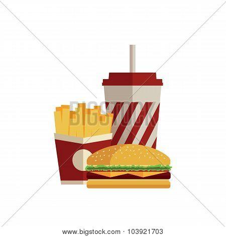 Fast food. Flat design.