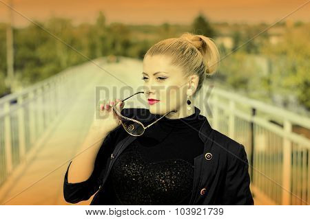 Portrait Of The Beautiful Woman On The Railway Bridge, A Scene Over The Railroad