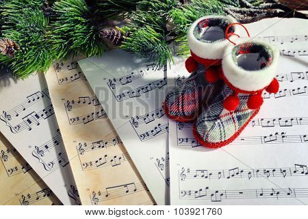 Music and Christmas decor closeup