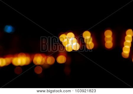 Defocused lights on dark background