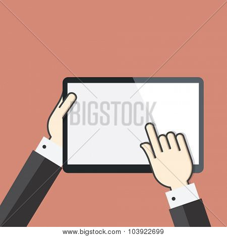 Flat concept of Hands on digital tablet screen
