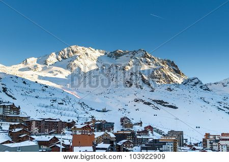 View Of The Val Thorens Ski Resort Of Three Valleys , France