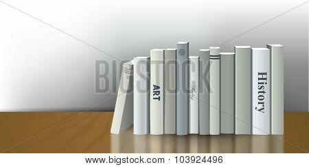 Book Shelf. Realistic 3D Vector Illustration. White, Grey Design.