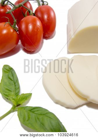 fresh snack of mozzarella basil and tomato isolated