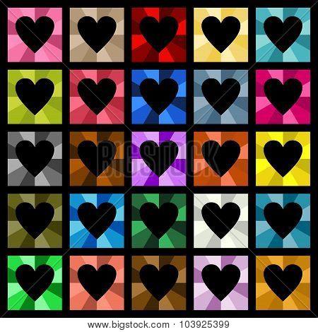 Multiple colored hearts square diamond
