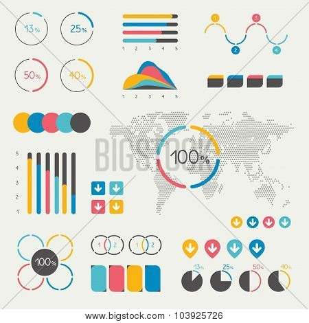 Set Of Infographics Elements. Chart, Graph, Timeline, Speech Bubble, Pie Chart, Map.