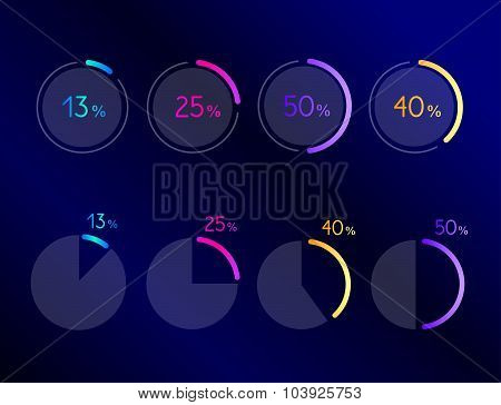 Exclusive Dark Blue Bussiness Pie Circle Chart, Graph. Line Design.