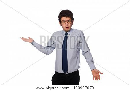 Young employee isolated on white