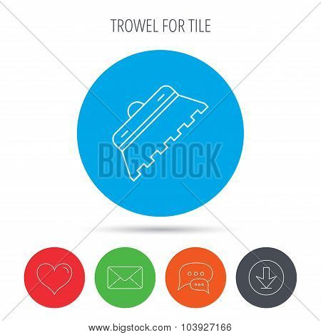Trowel for tile icon. Spatula repair tool sign.