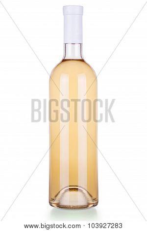Elegant bottle of white wine isolated