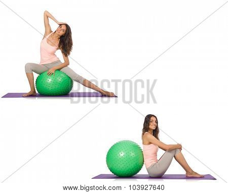 Set of photos with model and swiss ball