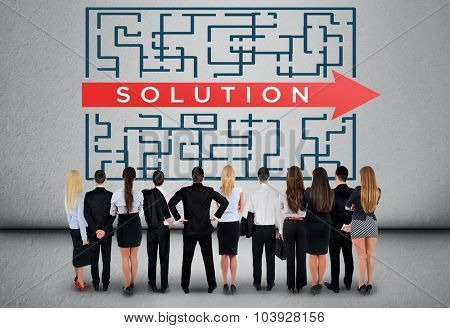 Solution word maze and business team thinking solution