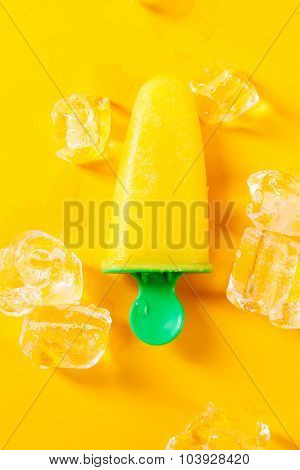 Ice-cream. Delicious popsicle on the table