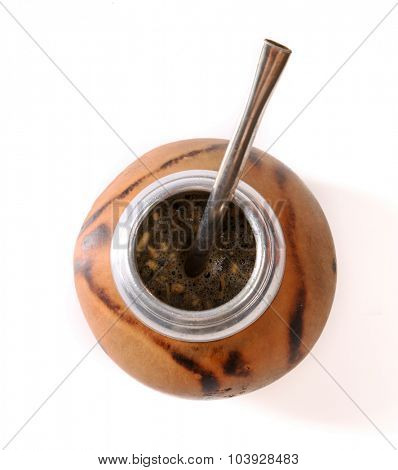 Matte tea in calabash mug