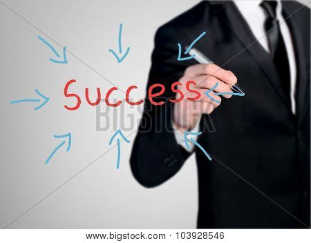 Business man close-up write Success word