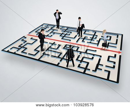 Maze solution and group of people