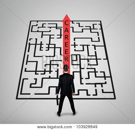 Career word maze and business man thinking solution