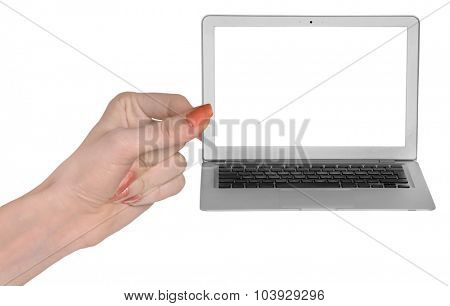 Woman hand showing empty screen laptop