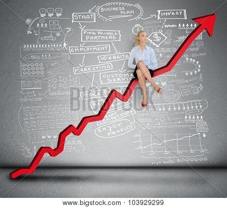 Red arrow report growth statistics