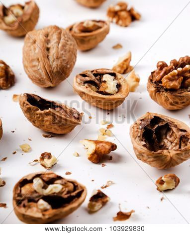 Nuts. Walnuts on a white background