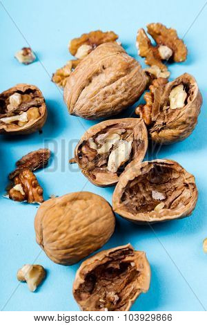 Nuts. Walnuts on a blue background