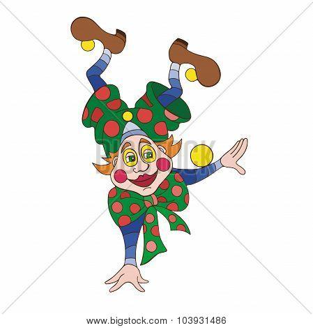 Funny clown character vector illustration.