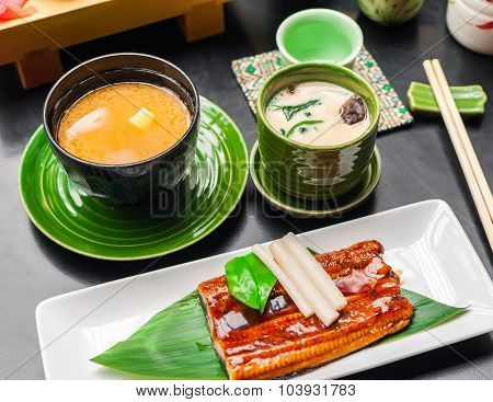 Grilled Eel And Miso Soup Served In Japanese Restaurant