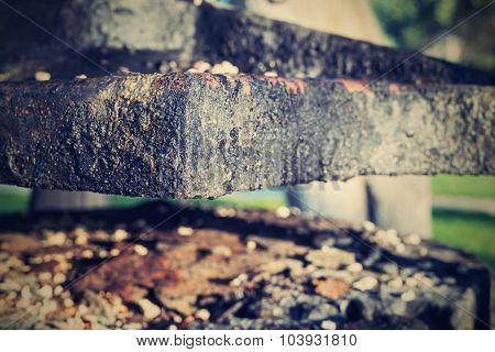 The Old Abstract Charred Iron Details