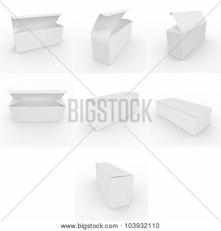 Collection Of Blank White Boxes Of Tea And Other Products And Goods