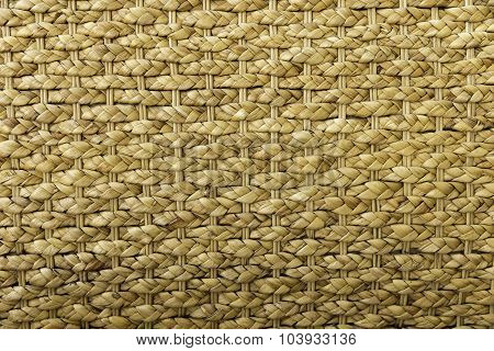 Horizontal View Of Hand Made Original Brown Colored Wicker Weave