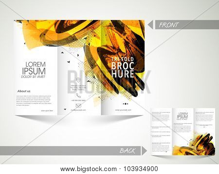 Creative abstract Trifold Brochure, Template or Flyer design with front and back side presentation for your Business.