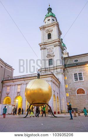 Golden Sphere At Kapitelplatz Square, Salzburg