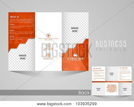 Professional Business Trifold Brochure, Flyer, Banner, Template or Catalog in orange and white colors with space for your image.
