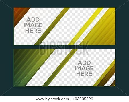 Glossy abstract website header or banner set with space for your images.