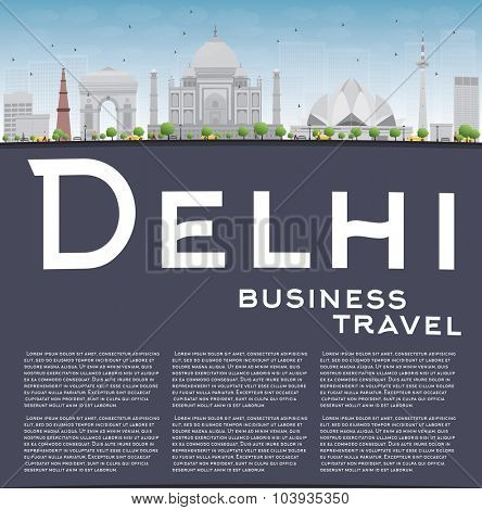Delhi skyline with gray landmarks, blue sky and copy space. Business travel and tourism concept with place for text. Image for presentation, banner, placard and web site. Vector illustration.