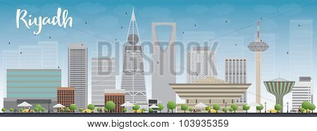 Riyadh skyline with grey buildings and blue sky. Vector illustration. Business and tourism concept with skyscrapers. Image for presentation, banner, placard or web site