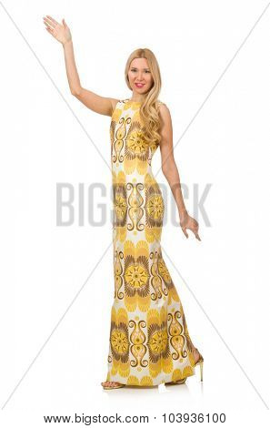 Pretty girl in yellow floral dress isolated on white