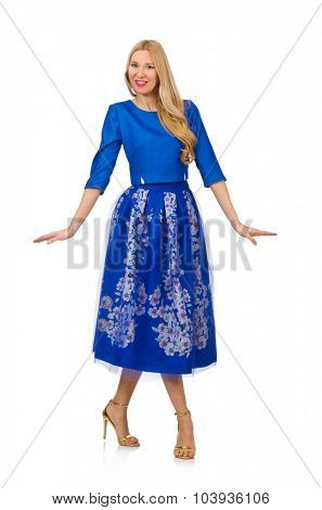 Woman in blue dress with flower prints isolated on white