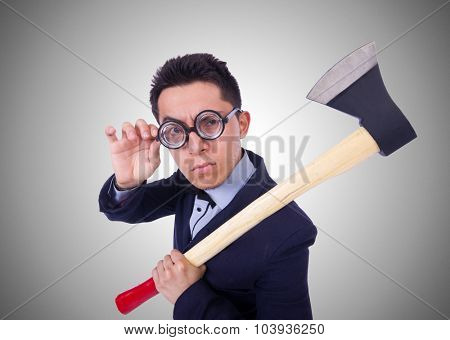 Funny man with axe on white