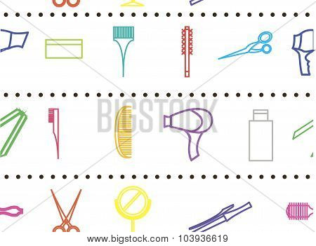 Seamless Pattern With Objects Hair Care And Body Cosmetology. Decor Elements For Design Barber Shop,