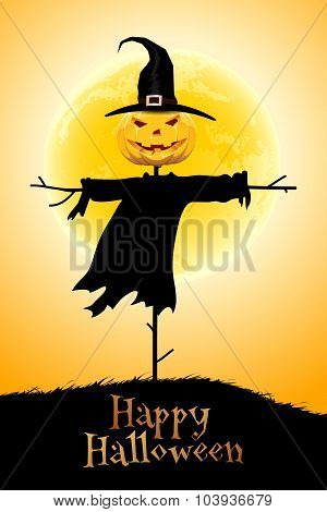 Halloween Background with Moon and Scarecrow