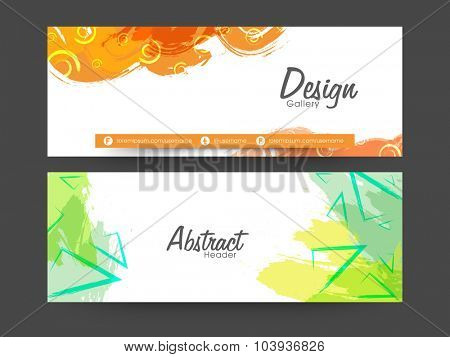 Creative website header or banner set decorated with abstract color splash.