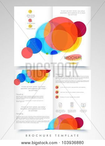 Colorful abstract design decorated, Business Brochure, Template or Flyer presentation with front and back view.