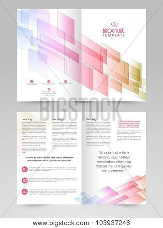 Glossy abstract design decorated, professional Two page Business Brochure, Flyer, Banner or Template design.